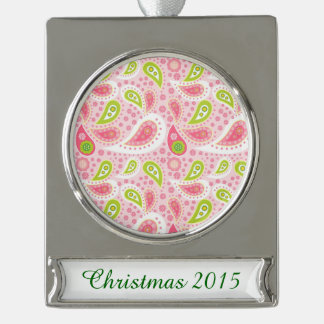Parade of Pink Paisley Silver Plated Banner Ornament
