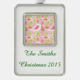 Parade of Pink Paisley Silver Plated Framed Ornament