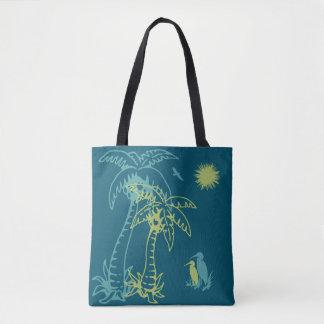 Paradise Beach Palm Tree Sun & Cranes Green Teal Tote Bag