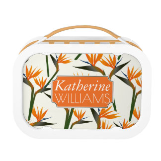 Paradise Bird Flower Pattern | Add Your Name Lunch Box