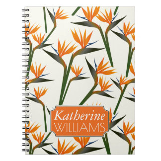 Paradise Bird Flower Pattern | Add Your Name Spiral Notebook