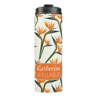 Paradise Bird Flower Pattern | Add Your Name Thermal Tumbler