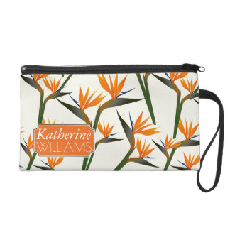 Paradise Bird Flower Pattern | Add Your Name Wristlet