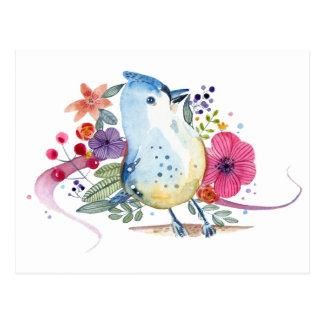 Paradise Bird Watercolor Illustration Postcard