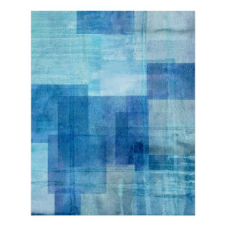 'Paradise' Blue Abstract Art Poster Print
