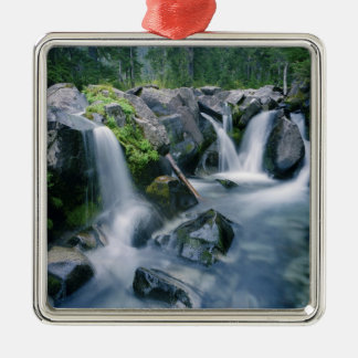 Paradise Creek flows down slopes of Mount Silver-Colored Square Decoration