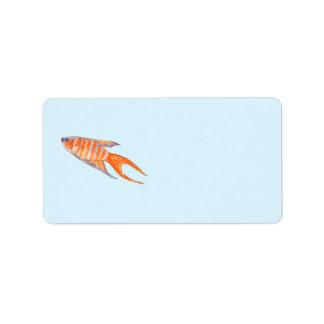 Paradise Fish, Watercolor. Label