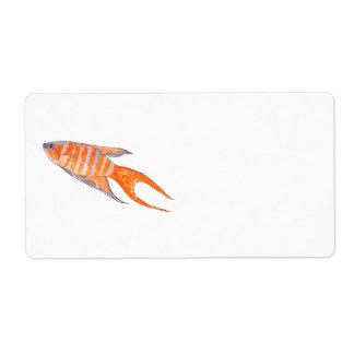 Paradise Fish, Watercolor. Shipping Label