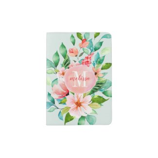 Paradise Floral Watercolor Monogram Passport Holder