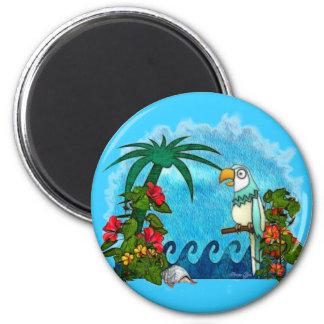 Paradise HAWAII Parrot & Hibiscus 6 Cm Round Magnet