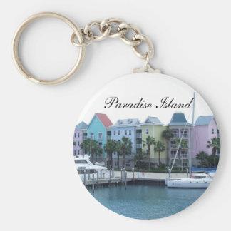 Paradise Island Bahamas Colorful Buildings Basic Round Button Key Ring