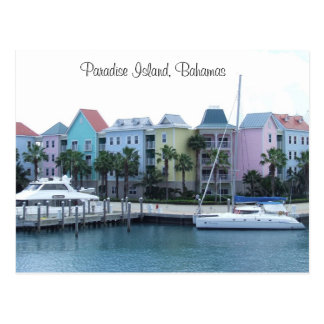 Paradise Island Bahamas Colorful Buildings Postcard