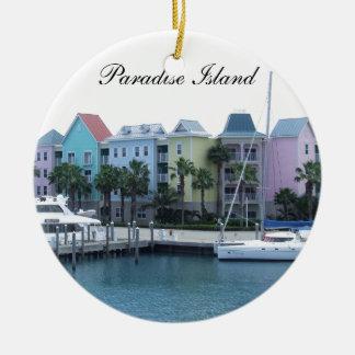 Paradise Island Bahamas Colorful Buildings Round Ceramic Decoration