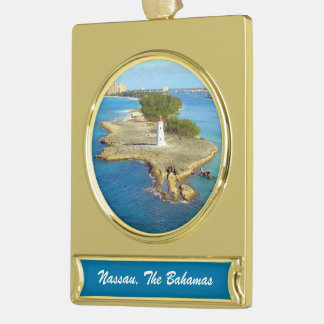 Paradise Island Light Gold Plated Banner Ornament