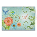 Paradise Love Birds Modern Floral Swirl Damask Note Card