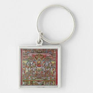 Paradise of Amitabha Silver-Colored Square Key Ring