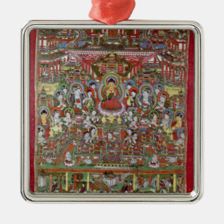Paradise of Amitabha Silver-Colored Square Decoration