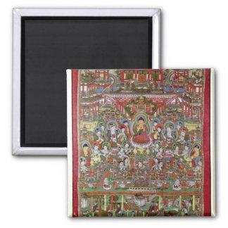 Paradise of Amitabha Square Magnet