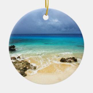 Paradise tropical island beach christmas ornament