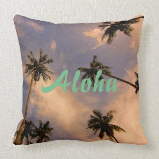 Paradise tropical palm tree hawaii aloha photo cushion