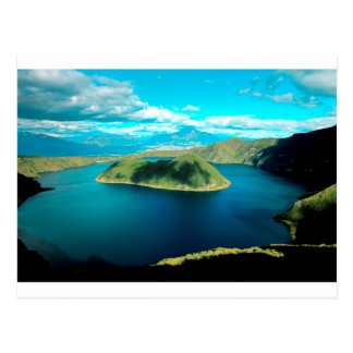 Paradise volcano crater lake postcard