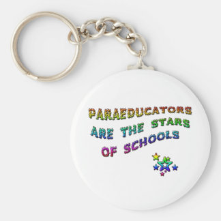 PARAEDUCATORS ARE THE STARS OF SCHOOLS BASIC ROUND BUTTON KEY RING