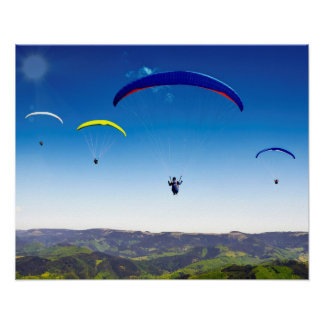 Paraglider into the Black Forest Poster