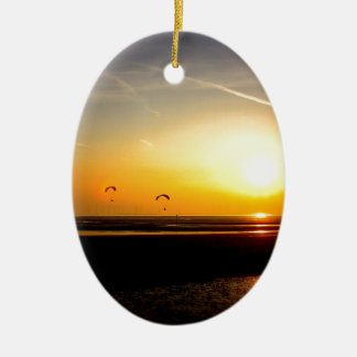 Paragliders enjoying the Sunset Ceramic Oval Decoration