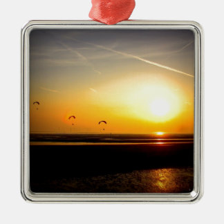 Paragliders enjoying the Sunset Christmas Ornament