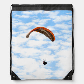 Paragliding in the Clouds Drawstring Bag