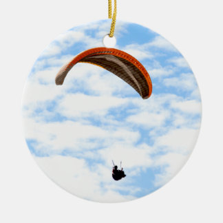 Paragliding in the Clouds Round Ceramic Decoration