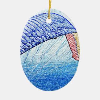 Paragliding Soaring Ceramic Oval Decoration
