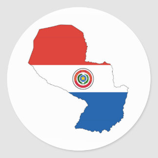 paraguay country flag map shape silhouette classic round sticker
