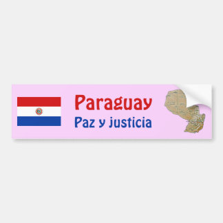 Paraguay Flag and Map Bumper Sticker