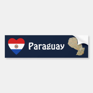 Paraguay Flag Heart + Map Bumper Sticker