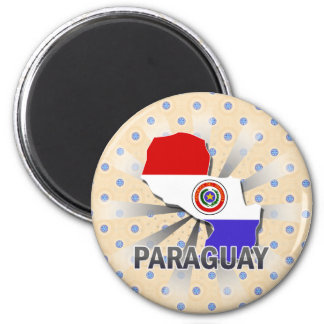 Paraguay Flag Map 2.0 6 Cm Round Magnet
