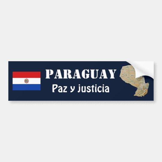 Paraguay Flag + Map Bumper Sticker
