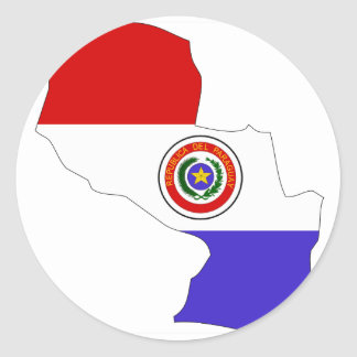 Paraguay flag map classic round sticker