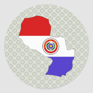 Paraguay Flag Map full size Classic Round Sticker
