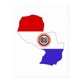 Paraguay flag map postcard