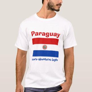 Paraguay Flag + Map + Text T-Shirt