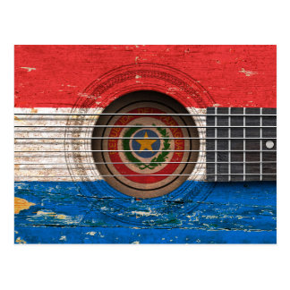 Paraguay Flag on Old Acoustic Guitar Postcard