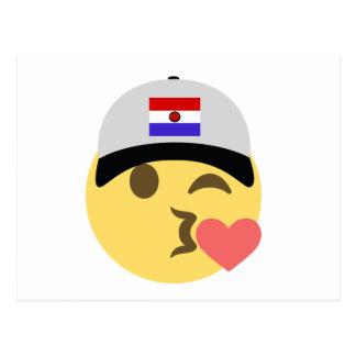 Paraguay Hat Kiss Emoji Postcard