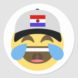 Paraguay Hat Laughing Emoji Classic Round Sticker