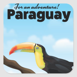 Paraguay Toucan travel poster Square Sticker