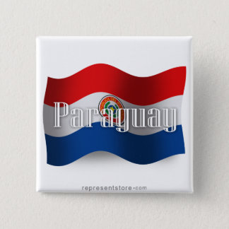 Paraguay Waving Flag 15 Cm Square Badge