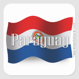 Paraguay Waving Flag Square Sticker