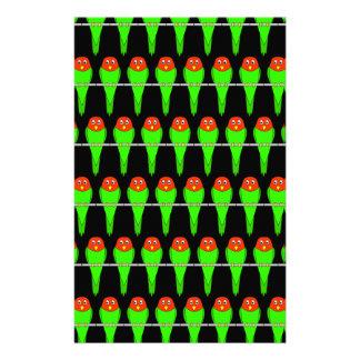 Parakeet Bird Pattern on Black. Stationery