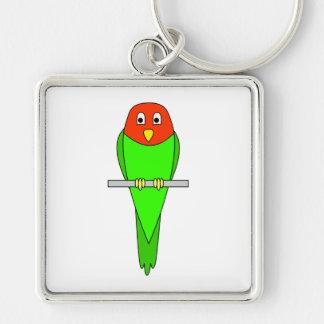 Parakeet Cartoon. Bird on a perch. Keychain