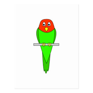 Parakeet Cartoon. Bird on a perch. Postcard
